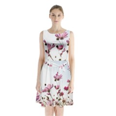 Flowers Plants Korea Nature Sleeveless Chiffon Waist Tie Dress
