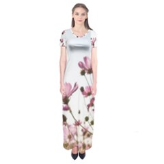 Flowers Plants Korea Nature Short Sleeve Maxi Dress