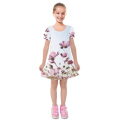 Flowers Plants Korea Nature Kids  Short Sleeve Velvet Dress