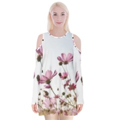 Flowers Plants Korea Nature Velvet Long Sleeve Shoulder Cutout Dress