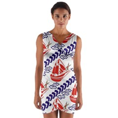 Sailing Boat Wrap Front Bodycon Dress