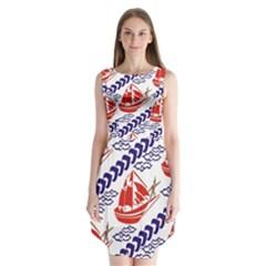 Sailing Boat Sleeveless Chiffon Dress