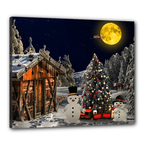 Christmas Landscape Canvas 24  X 20