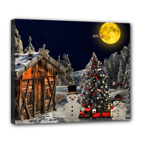 Christmas Landscape Deluxe Canvas 24  X 20