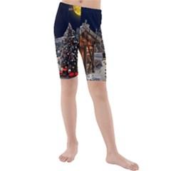 Christmas Landscape Kids  Mid Length Swim Shorts