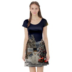 Christmas Landscape Short Sleeve Skater Dress