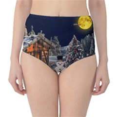 Christmas Landscape High-Waist Bikini Bottoms