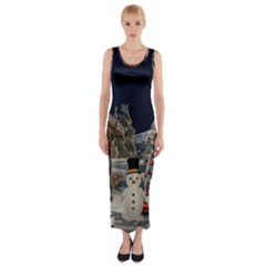 Christmas Landscape Fitted Maxi Dress