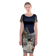 Christmas Landscape Classic Short Sleeve Midi Dress