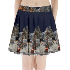 Christmas Landscape Pleated Mini Skirt
