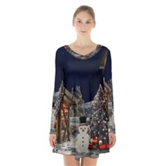 Christmas Landscape Long Sleeve Velvet V Neck Dress