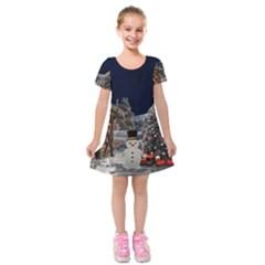Christmas Landscape Kids  Short Sleeve Velvet Dress