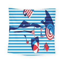Sunbathing On The Beach Square Tapestry (small)