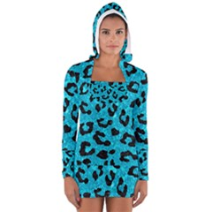 Skin5 Black Marble & Turquoise Marble Long Sleeve Hooded T Shirt