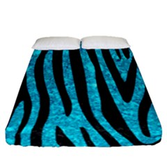 Skin4 Black Marble & Turquoise Marble Fitted Sheet (queen Size)