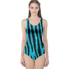 Skin4 Black Marble & Turquoise Marble One Piece Swimsuit