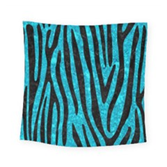 Skin4 Black Marble & Turquoise Marble Square Tapestry (small)