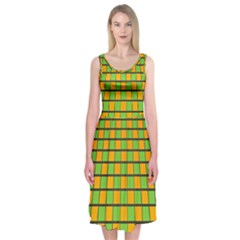 Tile Of Yellow And Green Midi Sleeveless Dress