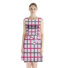 Tiles On Light Pink Sleeveless Chiffon Waist Tie Dress