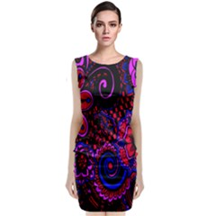 Sunset Floral Flower Red Pink Jewel Box Sleeveless Velvet Midi Dress