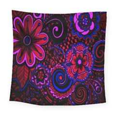 Sunset Floral Flower Red Pink Jewel Box Square Tapestry (large)