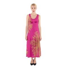 Yellow Flowers On Pink Background Pink Sleeveless Maxi Dress