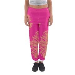 Yellow Flowers On Pink Background Pink Women s Jogger Sweatpants