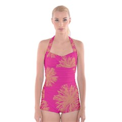 Yellow Flowers On Pink Background Pink Boyleg Halter Swimsuit