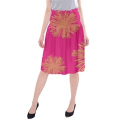 Yellow Flowers On Pink Background Pink Midi Beach Skirt