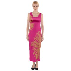 Yellow Flowers On Pink Background Pink Fitted Maxi Dress