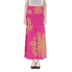 Yellow Flowers On Pink Background Pink Maxi Skirts