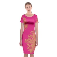 Yellow Flowers On Pink Background Pink Classic Short Sleeve Midi Dress
