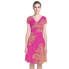 Yellow Flowers On Pink Background Pink Short Sleeve Front Wrap Dress