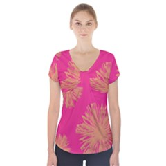 Yellow Flowers On Pink Background Pink Short Sleeve Front Detail Top