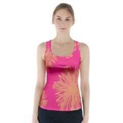 Yellow Flowers On Pink Background Pink Racer Back Sports Top
