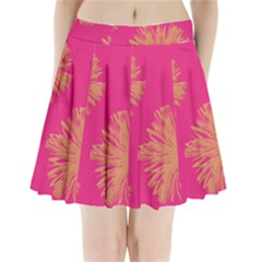 Yellow Flowers On Pink Background Pink Pleated Mini Skirt
