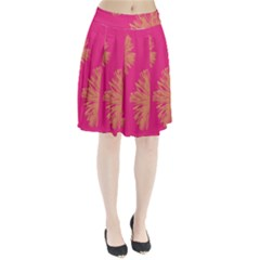 Yellow Flowers On Pink Background Pink Pleated Skirt