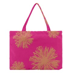 Yellow Flowers On Pink Background Pink Medium Tote Bag