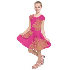 Yellow Flowers On Pink Background Pink Kids  Short Sleeve Dress