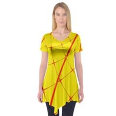 Yellow Redmesh Short Sleeve Tunic