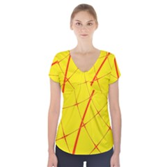 Yellow Redmesh Short Sleeve Front Detail Top