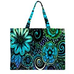 Sunset Floral Flower Green Large Tote Bag