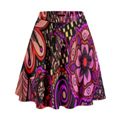 Sunset Floral  Flower Purple High Waist Skirt