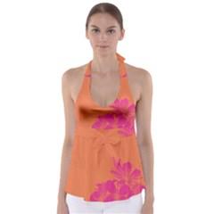 Flower Orange Pink Babydoll Tankini Top