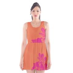 Flower Orange Pink Scoop Neck Skater Dress