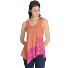 Flower Orange Pink Sleeveless Tunic