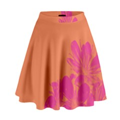 Flower Orange Pink High Waist Skirt