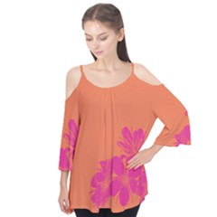 Flower Orange Pink Flutter Tees