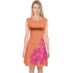 Flower Orange Pink Capsleeve Midi Dress