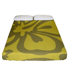 Flower Gray Yellow Fitted Sheet (king Size)
